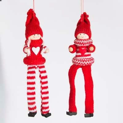 Set of 2 Scandinavian Style Pixie Boy & Girl with Heart Jumper Hanging Christmas Decoration