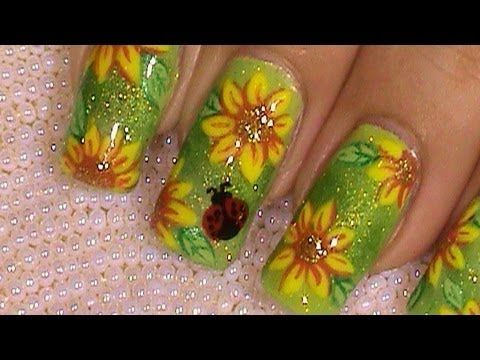 Sunflower Ladybug Summer Nail Art Design Tutorial