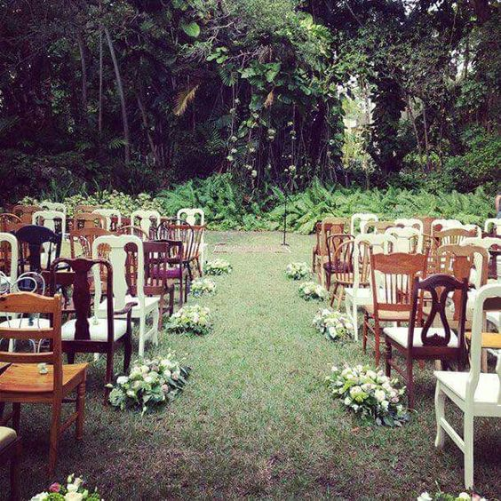 wedding seating budget backyard ceremony decorations mismatched chairs