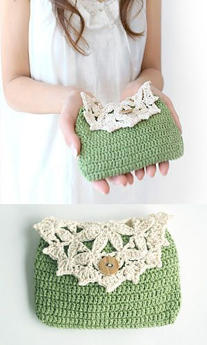 Free Vintage Crochet Bag Pattern : So cute! Vintage crochet purse- 210-52 Floral Pouch by ...