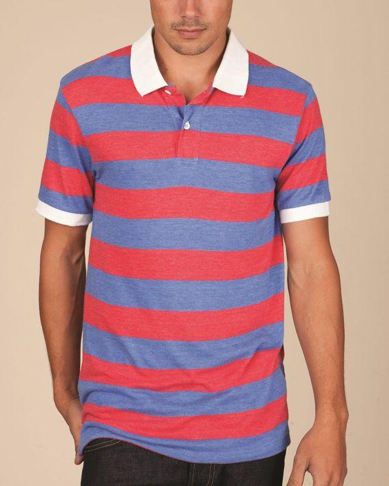 Mens Stripe Short Sleeve Polo