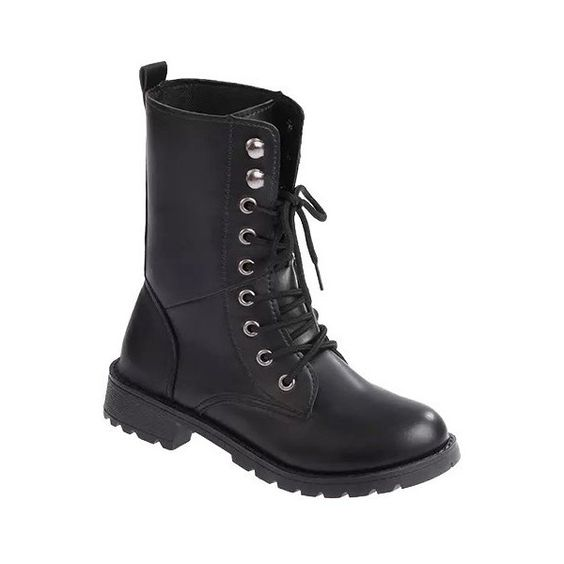 Trendy Women's Combat Boots With Black and Round Toe Design via ...