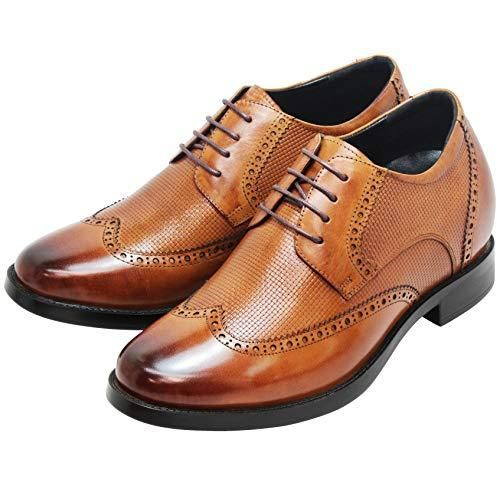 A1136A 3.2 Inches Taller CALTO Mens Invisible Height Increasing Elevator Oxfords Shoes Black Leather Lace-up Wint-tip Dress Derby