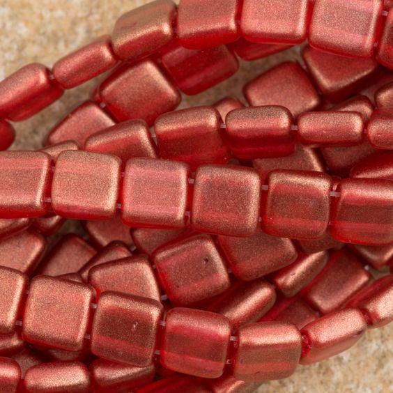 50 CzechMates 6mm Two Hole Tile Beads Halo Cardinal (29256)