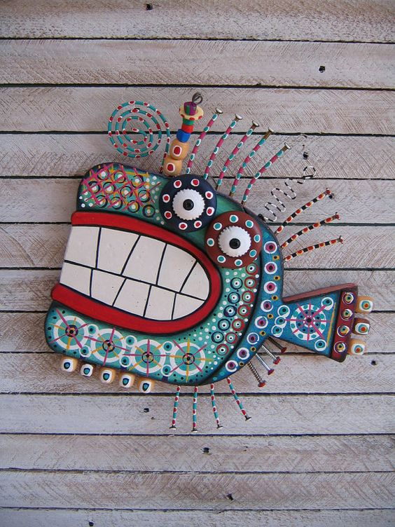Twisted Fish 127  Found Object Wall Art by Fig Jam by FigJamStudio, $85.00: