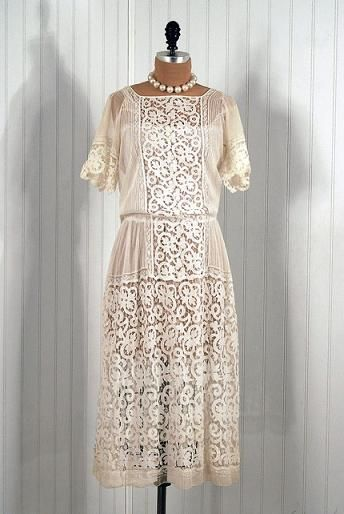 1910′s Antique Mixed-Lace Tea-Dress. vintage lace wedding ...