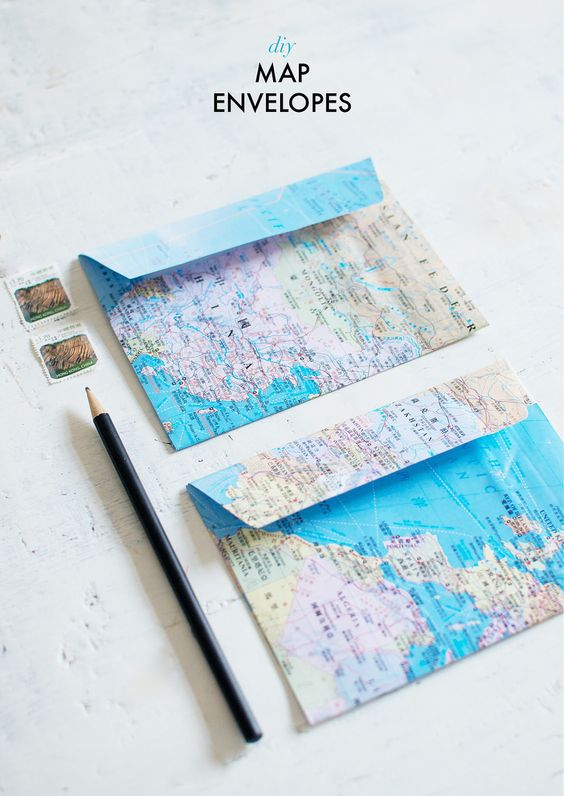 A Pair & A Spare | Quick DIY: map Envelopes