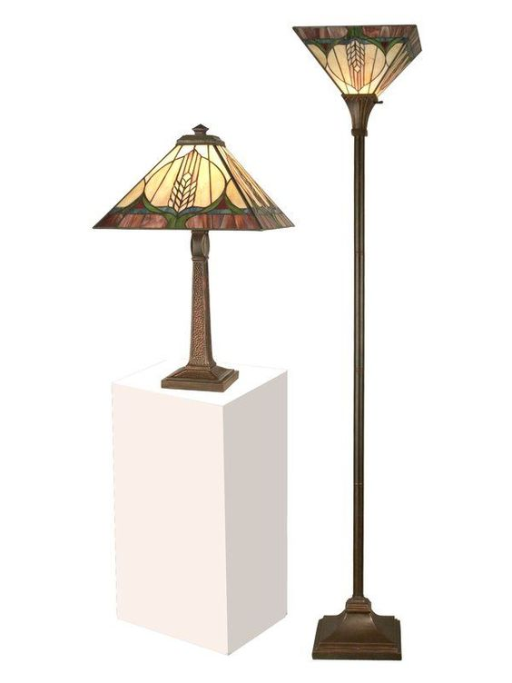 Dale tiffany stanton mission table torchiere set with 1 light antique brown lamps lamp sets table and floor lamps