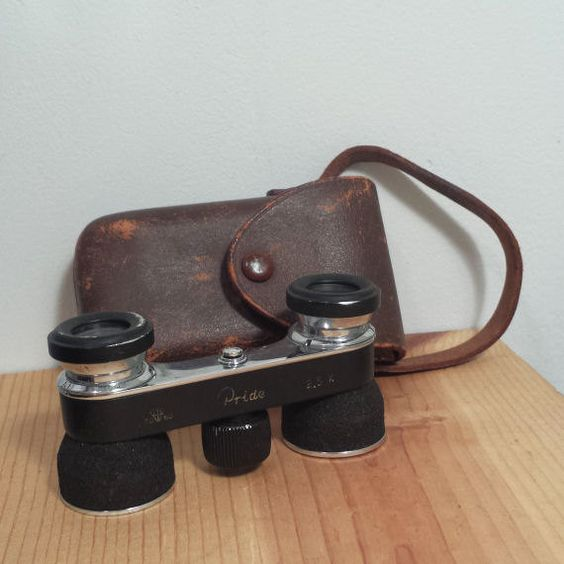 Vintage 1940s Occupied Japan Binoculars and Brown Leather Bag marked TOKO Pride, 2.5 Magnification. For sale by DanushasCollectibles vintage Etsy shop.