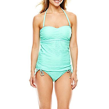 jcp   Aqua Couture Molded Bandeaukini Swim Top or Side-Tie Bottoms