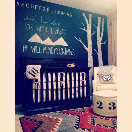 Chalkboard Accent Wall in a Fox Nursery - love all the woodland accents!