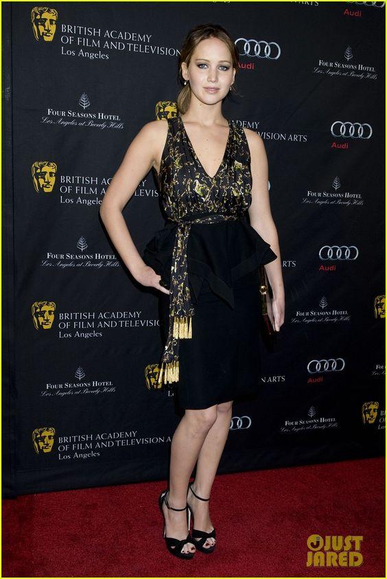 "Jennifer Lawrence.   BAFTA Tea Party 2013.    ""Altuzarra dress with Jimmy Choo pumps, a Roger Vivier bag, Kara Ackerman earrings, and a Sylva & Cie ring."""