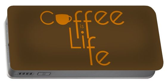 Coffee Is Life #2 Portable Battery Charger by Nola Lee Kelsey.  Medium (5200…