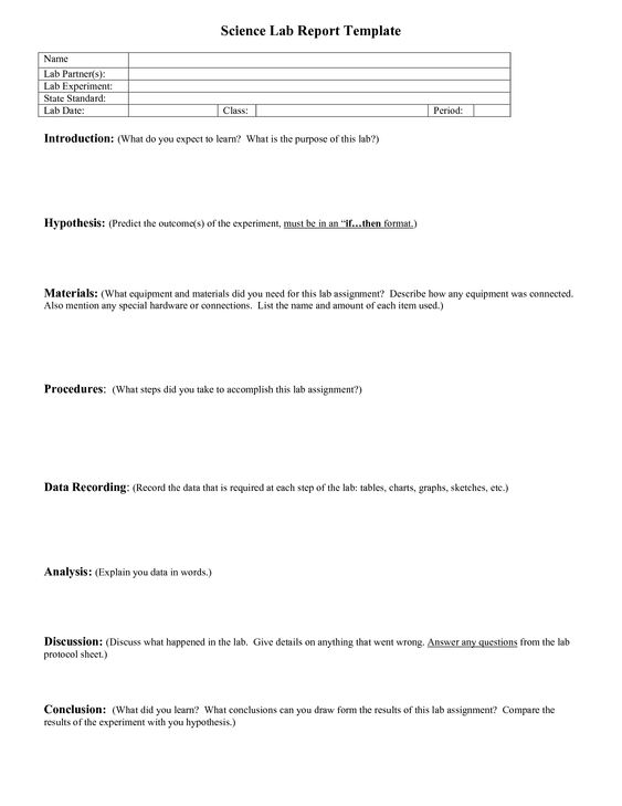 SCIENCE Lab Report Template for older students She Blinded Me - analysis report template
