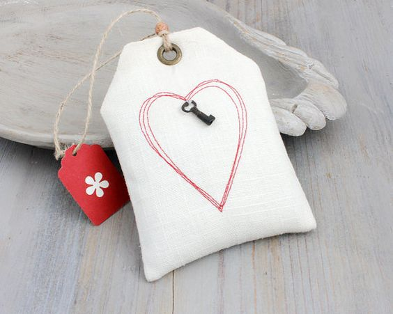 Lavender Sachet with Red Stitched Heart Gift by BailiwickStudio