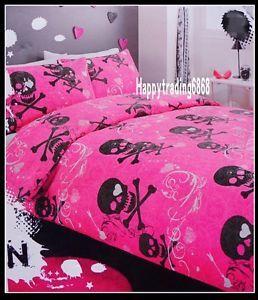 Pink Skull Crossbones Bedding Pink Black Girly Whirly