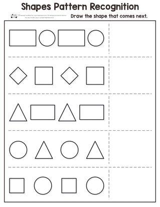 Shapes Pattern Recognition For Kindergarten Mathematique Maternelle Apprentissage Mathematiques Worksheet shapes for nursery