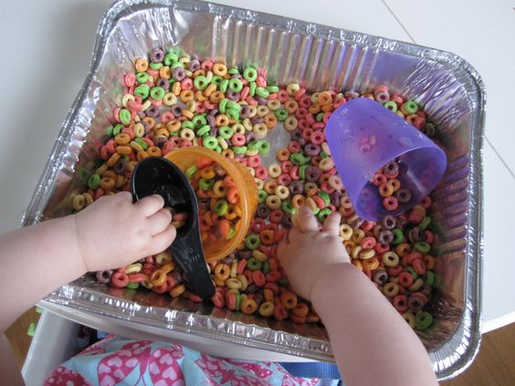 Non-messy sensory activities: Fruity Sensory Tub: Sensory Tub, Non Messy Sensory Play, Art, Activities Fruity, Baby, Fun, Fruity Sensory, Toddler, Fruity Cheerios