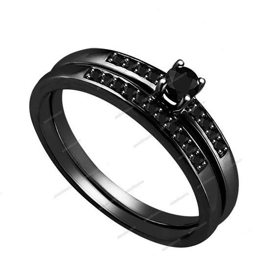 Ladies 10K Black Gold Diamond Engagement Ring Round Wedding Band Bridal Set #aonebianco