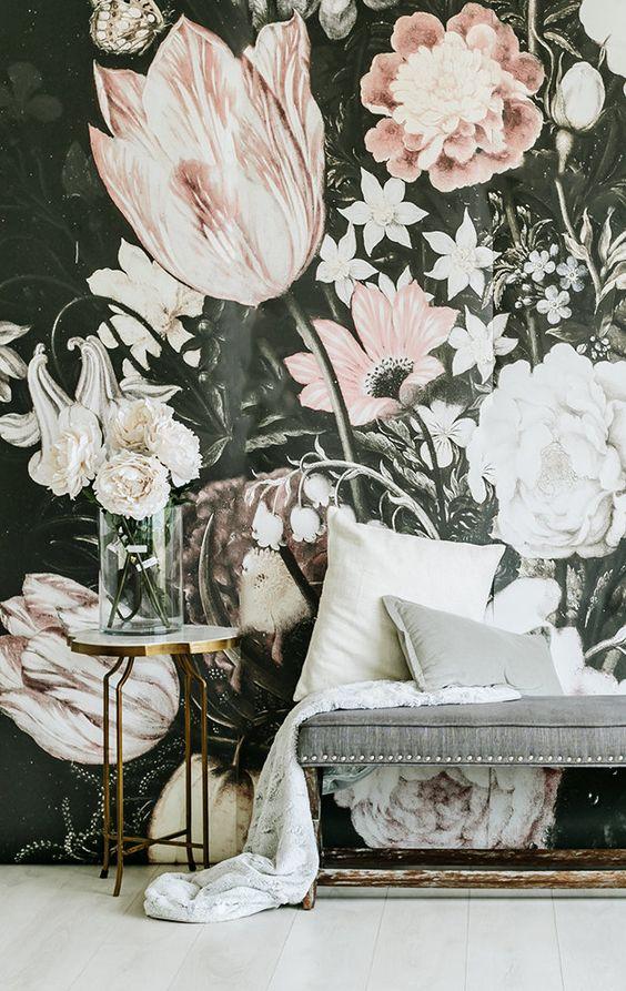 Large Blossoms Wallpaper Mural | Etsy