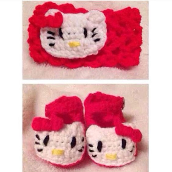 Crochet Red White Blue Girl Doll Pattern Hello Kitty Shoes