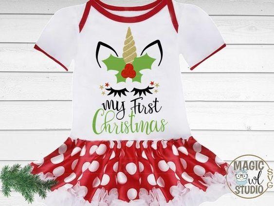 Christmas Unicorn Shirt Personalized Magical Unicorn Christmas T-shirt Bodysuit Girl Kids Children Baby Christmas Gift Stocking Stuffer