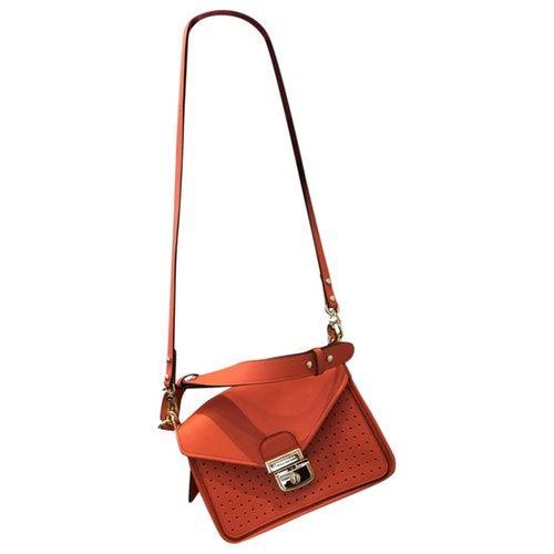 Pre-Owned Longchamp Mademoiselle Orange Leather Handbag | ModeSens ...