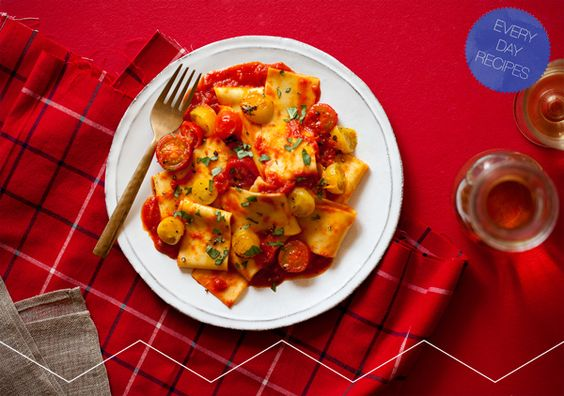 Parpardelle Pasta with a Roasted Cherry Tomato Sauce