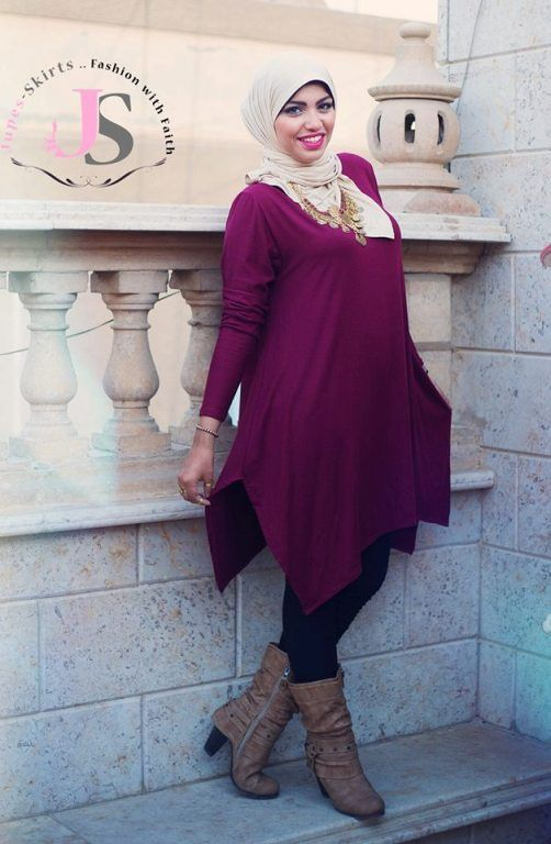 Maroon blouse hijab look Winter hijab fashion from Egypt http//www.justtrendygirls.com/winter ...