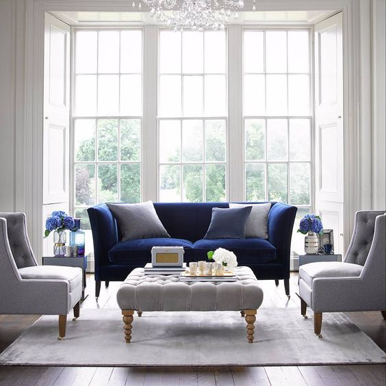 Pin On Living Spaces #navy #blue #and #white #living #room