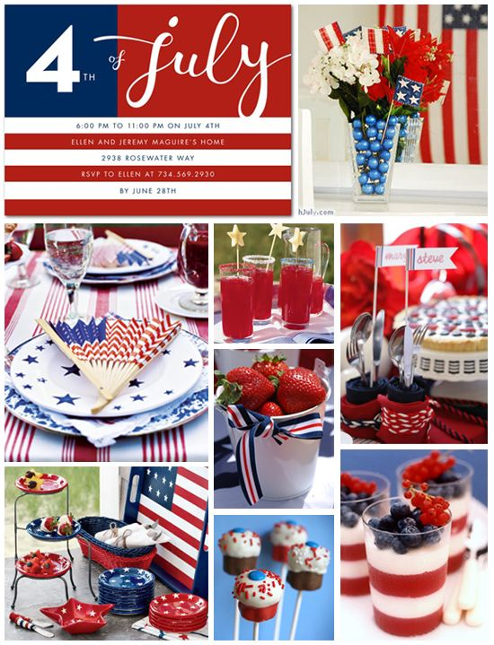 Inspiration board 4th of july party red white blue for 4th of july party decoration