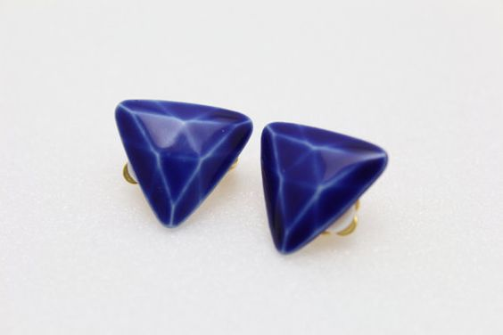 semo gem blue ceramic clip earing by buttonmimi on Etsy