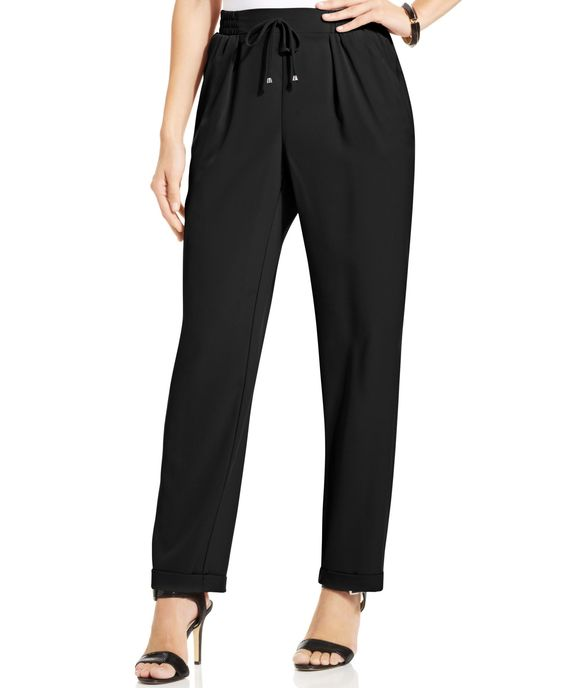 Ny Collection Drawstring Pleated-Front Pants