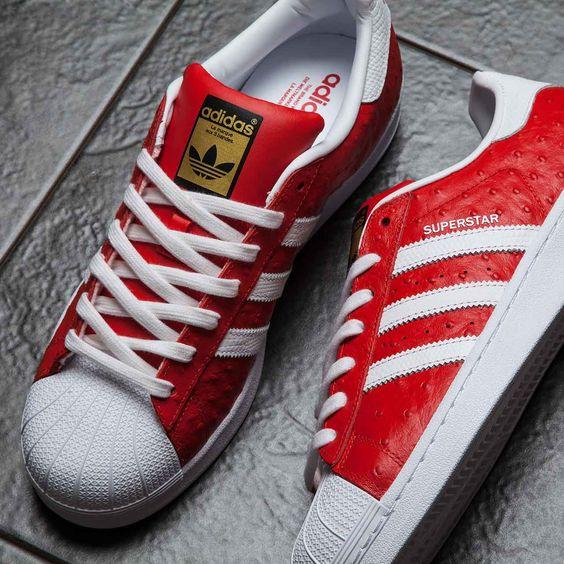 Adidas Originals Superstar in rot-weiß.