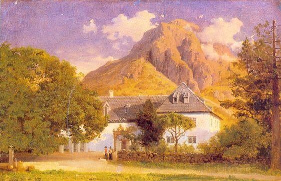 Hans Gude (Norwegian 1825–1903) [Norwegian romantic nationalism] Baroniet Rosendal, 1849. Private Collection.