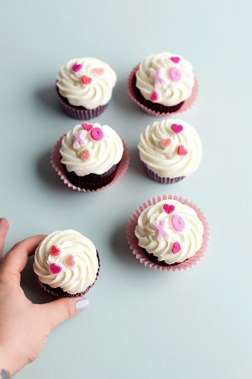 Chocolate Cupcakes with Goat Cheese Frosting & Cherry Jam Middles ...
