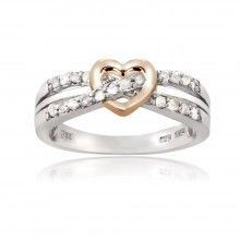 Sterling Silver Rose Gold Two-Tone 1/5ct Diamond Twist & Heart Promise Ring