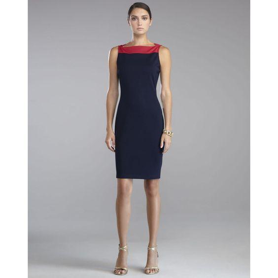 Women's St. John Collection Milano Knit Sleeveless Sheath Dress, Berry ($795) ❤ liked on Polyvore