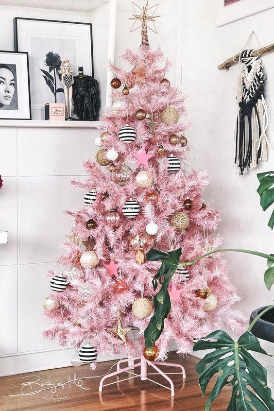 Birdy and Me Pink Christmas Tree Elle Decor