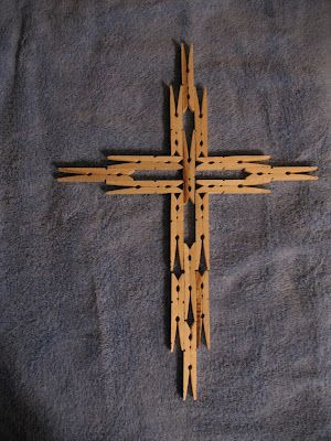 Clothespin Cross for Holy Week #Easter - We made these tonight,such a great holiday craft! (No tutorial on site,but it's easy to do by just looking at the pic)