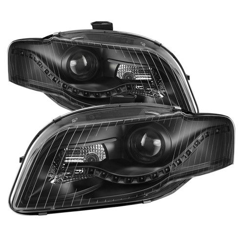 Black 2006 2008 Audi A4 S4 B7 R8 Style Led Drl Halogen Type Projector Headlights Headlamps Replacement Both Driver Passenge Audi A4 Projector Headlights Audi