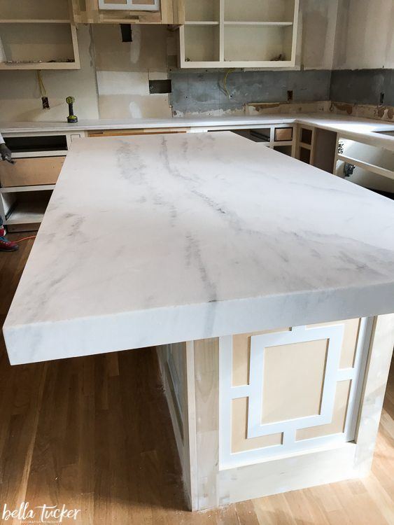 Snow White Marble Mitered Edge 3 Inches Bella Tucker Decorative Finishes Kitchen Remodel White Marble House Design