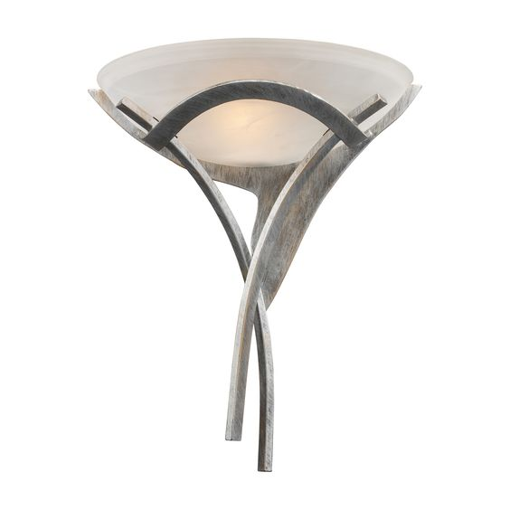 Aurora 1-Light Sconce in Tarnished Silver and White Faux-Alabaster Glass