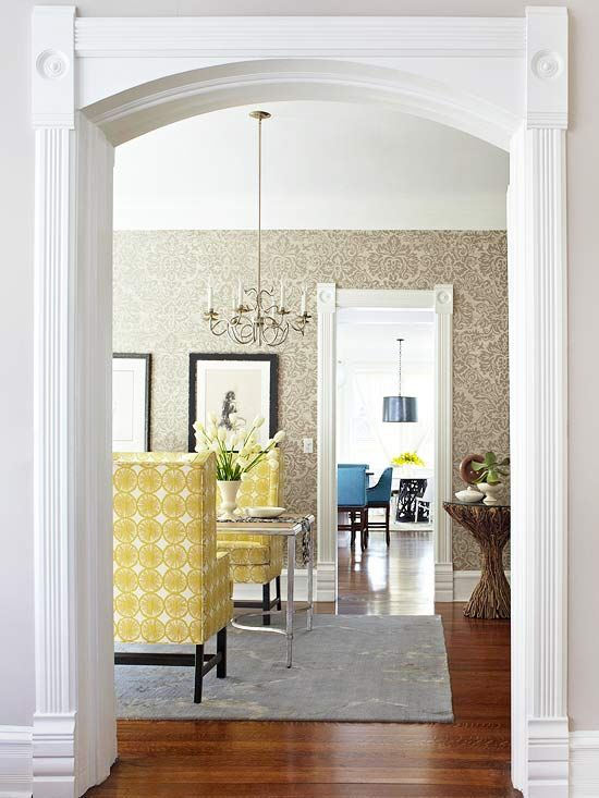 Entryway wallpapers and moldings on pinterest for Dining room in entryway