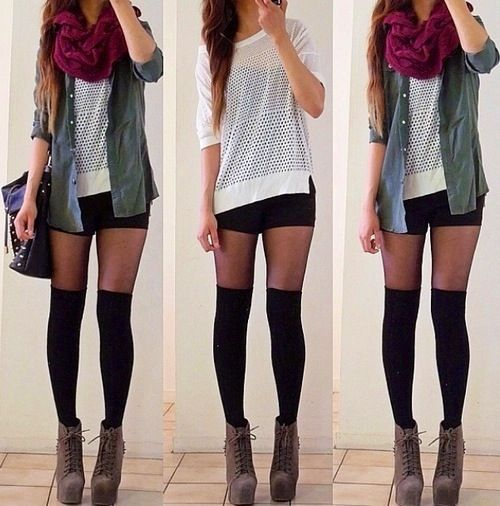 Green jacket Knee highs and Red scarves on Pinterest
