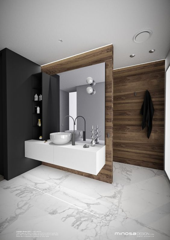 Layout and mix of materials. Toilet behind the black wall. Wall mounted vanity with extra black storage shelf. Could put powerpoints in the back of one of the black shelves so you could leave hair tools set up and plugged in. Minosa Design: