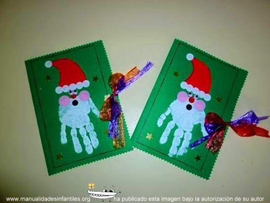 Tarjetas de papa noel con las manos huellas manos - Tarjeta de navidad para ninos manualidades ...