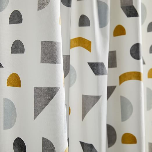 Organic Mid Century Geo Shower Curtain With Images Modern
