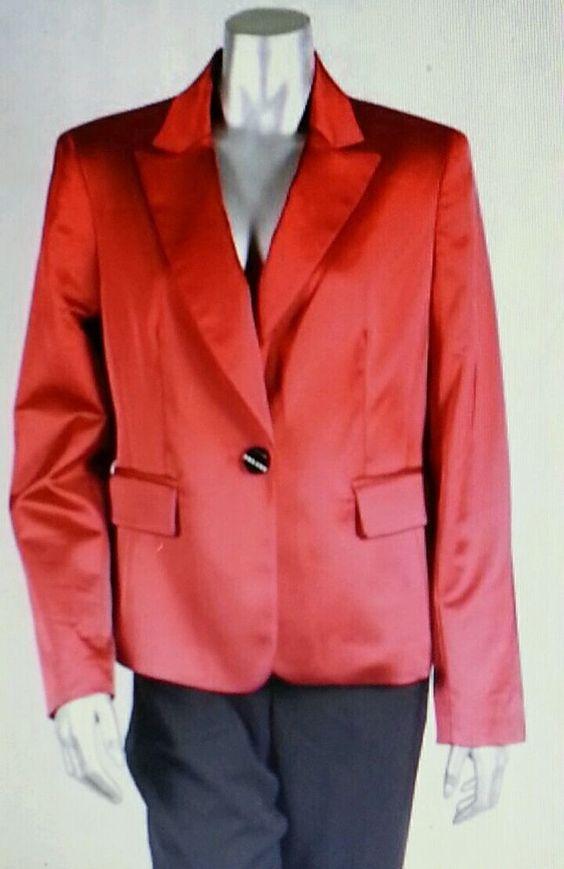 NIPON BOUTIQUE RED BLAZER SATIN 20W 1X EXTRA LARGE XL GRAND OPERA NWT NEW  #NIPONBOUTIQUE #Blazer