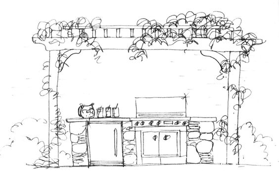 Heather Moll-Dunn Landscape and Garden Designer- grill and fridge with arbor above